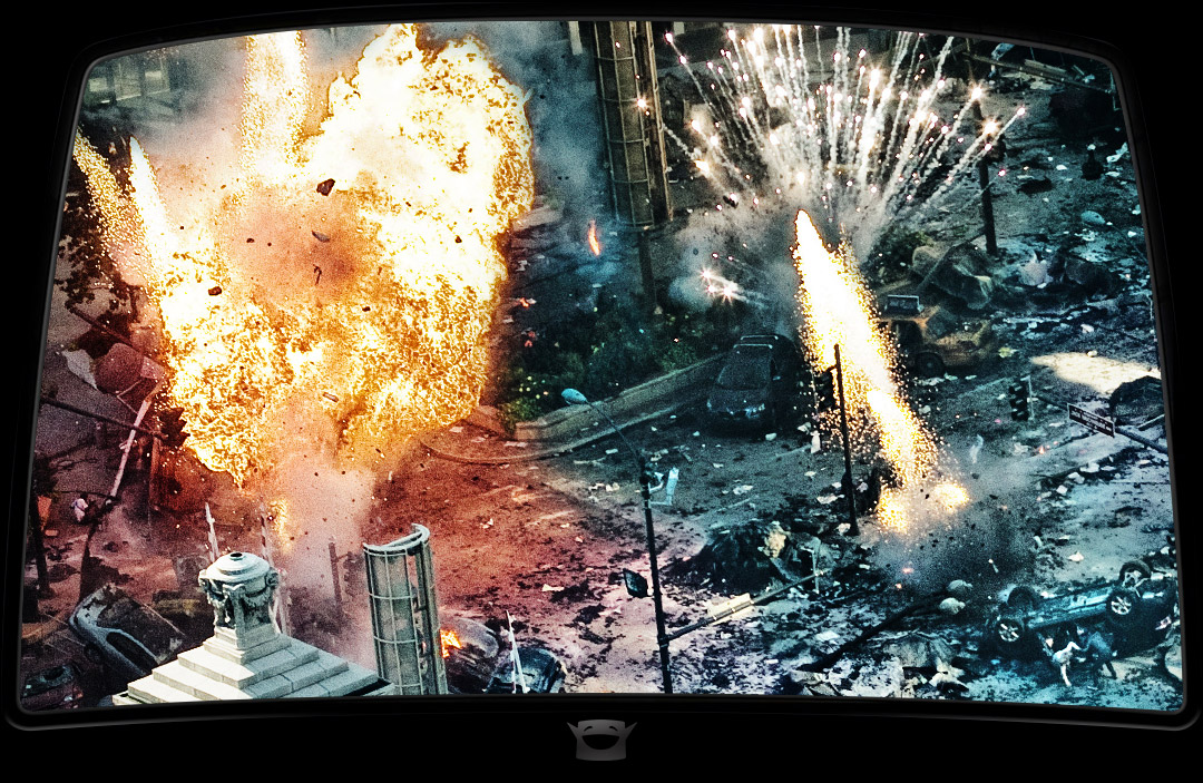 Explosions by the Wrigley Building for the final battle scene