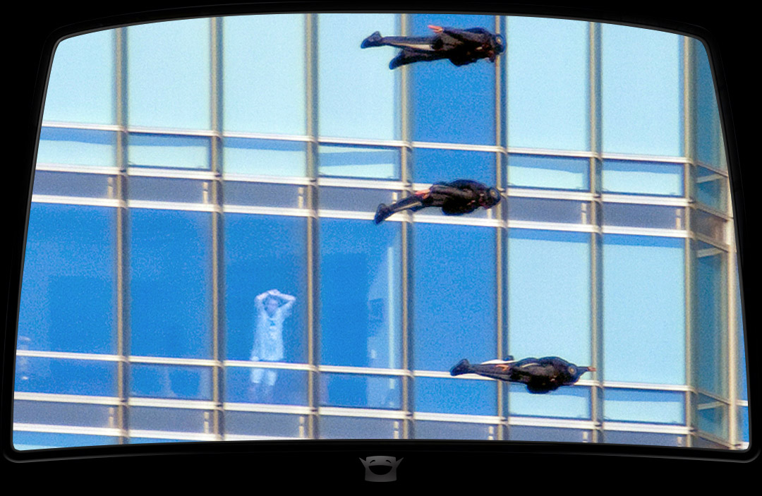 Wingsuit skydivers fly past Trump Tower spectator
